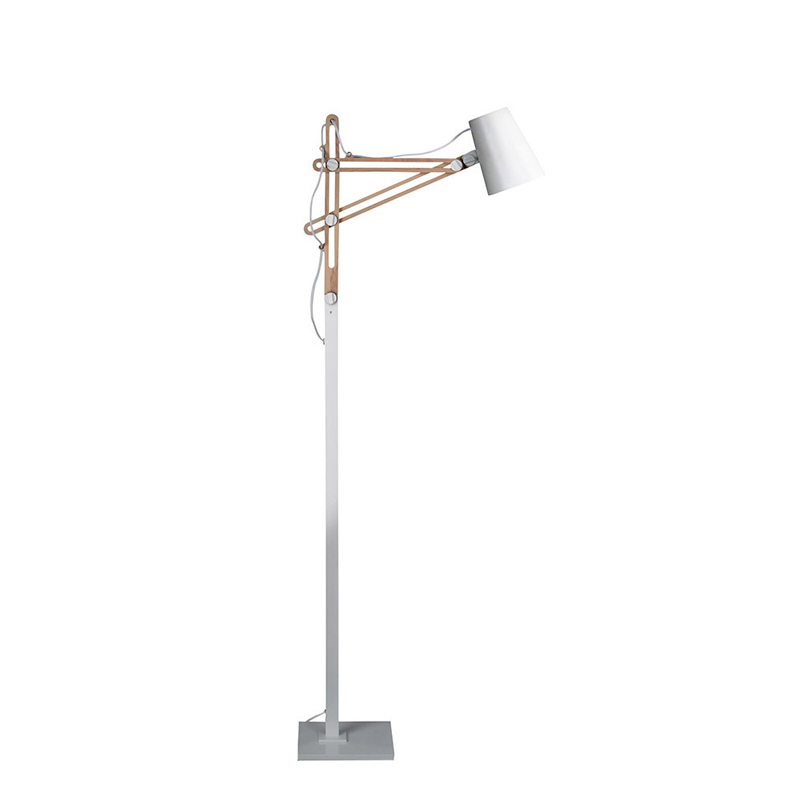 Mantra M3774 Looker Floor Lamp 1 Light E27 , Matt White/Beech