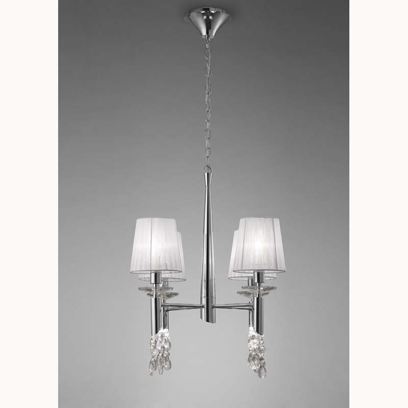 Tiffany Pendant 4+4 Light, Polished Chrome With White Shades & Clear Crystal