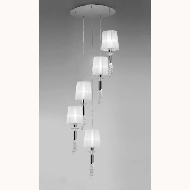 Tiffany Pendant 5+5 Light, Polished Chrome With White Shades & Clear Crystal