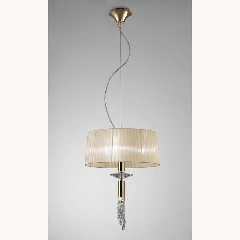 Tiffany Pendant 3+1 Light E27+G9, French Gold With Cream Shade & Clear Crystal