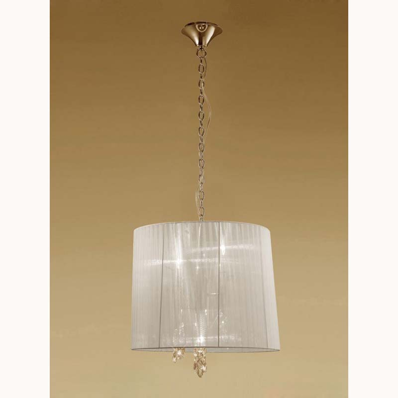 Tiffany Pendant 3+3 Light E14+G9, French Gold With Cream Shade & Clear Crystal
