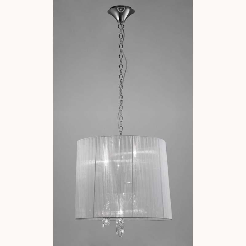 Tiffany Pendant 3+3 Light E14, Polished Chrome With White Shade & Clear Crystal