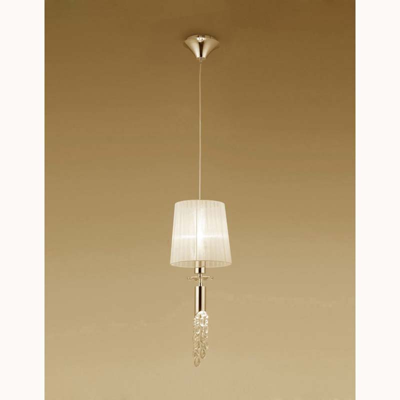 Tiffany Pendant 1+1 Light E27+G9, French Gold With Cream Shade & Clear Crystal