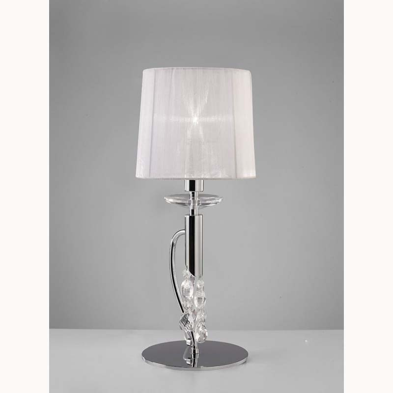 Polished Chrome 1 Light Table Lamp With White Shade & Clear Crystal