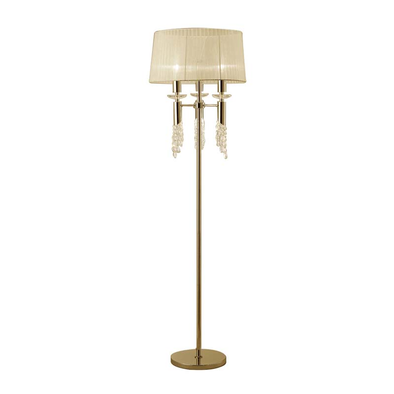 Tiffany Floor Lamp 3+3 Light E27, French Gold With Cream Shade & Clear Crystal