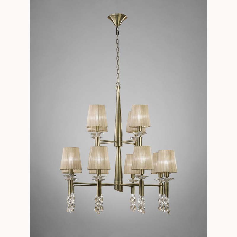 Tiffany Pendant 12 Light, Antique Brass With Soft Bronze Shades & Clear Crystal