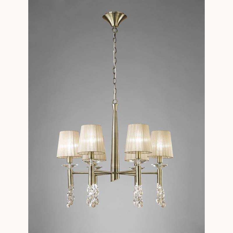 Tiffany Pendant 6+6 Light, Antique Brass With Soft Bronze Shades & Clear Crystal