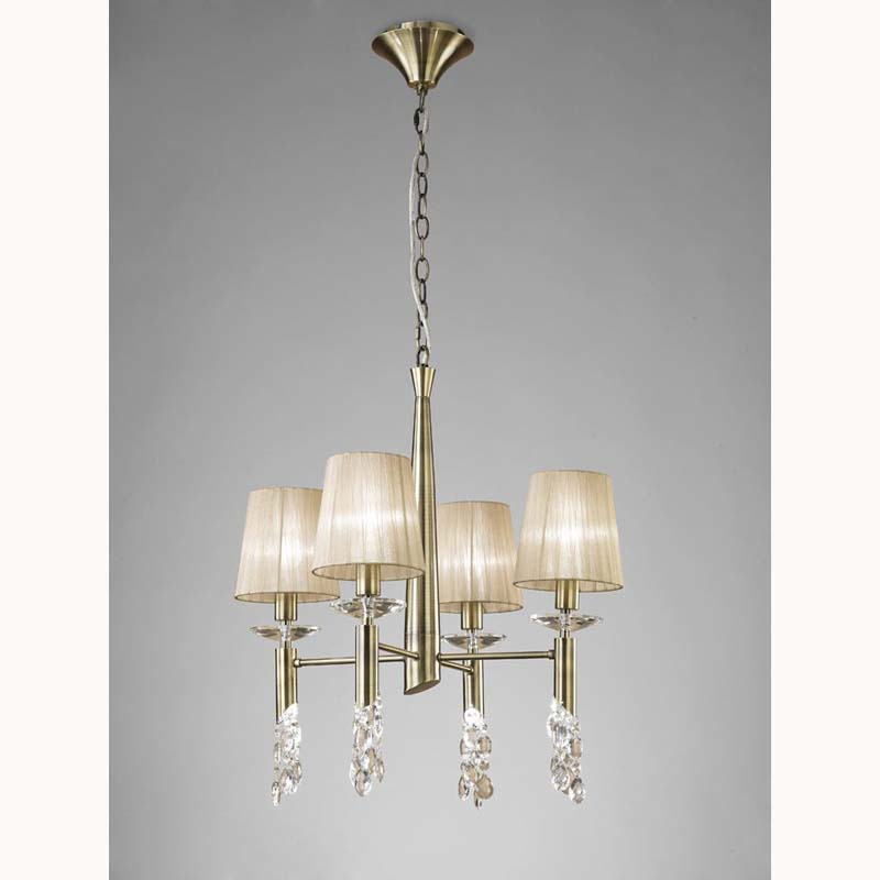Tiffany Pendant 4+4 Light, Antique Brass With Soft Bronze Shades & Clear Crystal