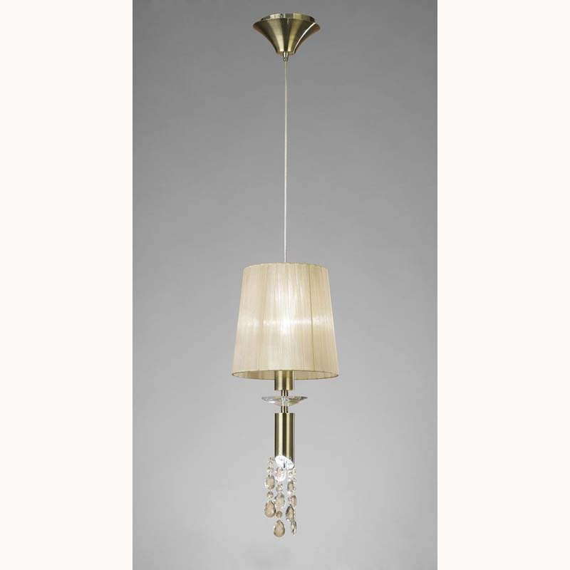 Tiffany Pendant 1+1 Light, Antique Brass With Soft Bronze Shade & Clear Crystal