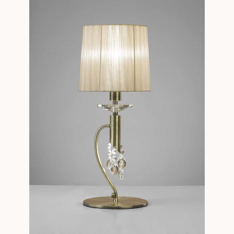 Tiffany Table Lamp 1 Light, Antique Brass With Soft Bronze Shade & Clear Crystal