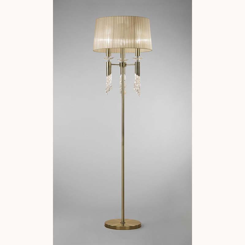 Tiffany Floor Lamp 3+3 Light, Antique Brass With Bronze Shade & Clear Crystal