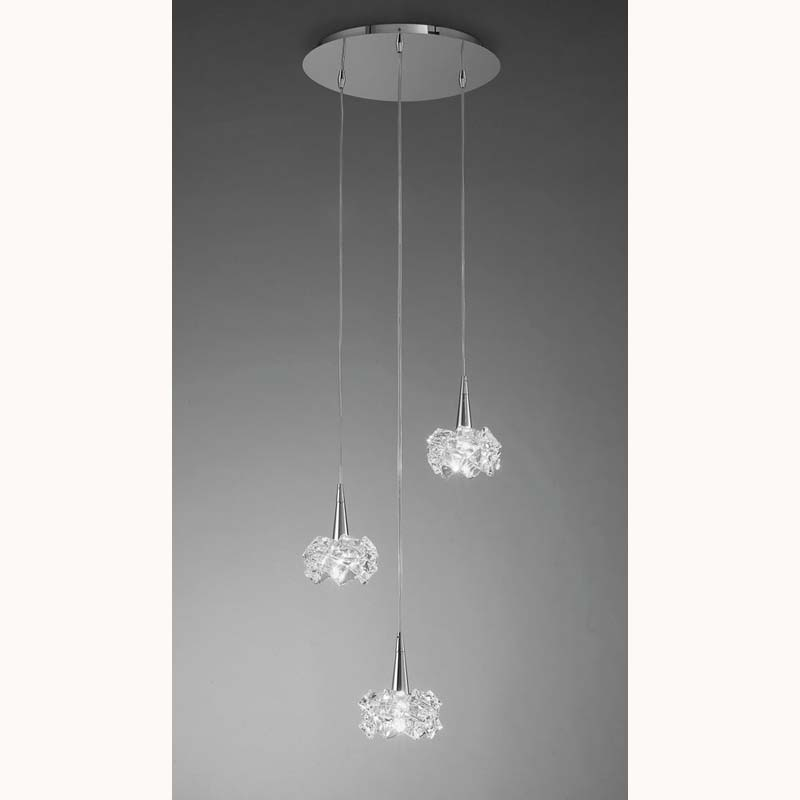Mantra M3952 Artic Pendant 3 Light G9 Round, Polished Chrome