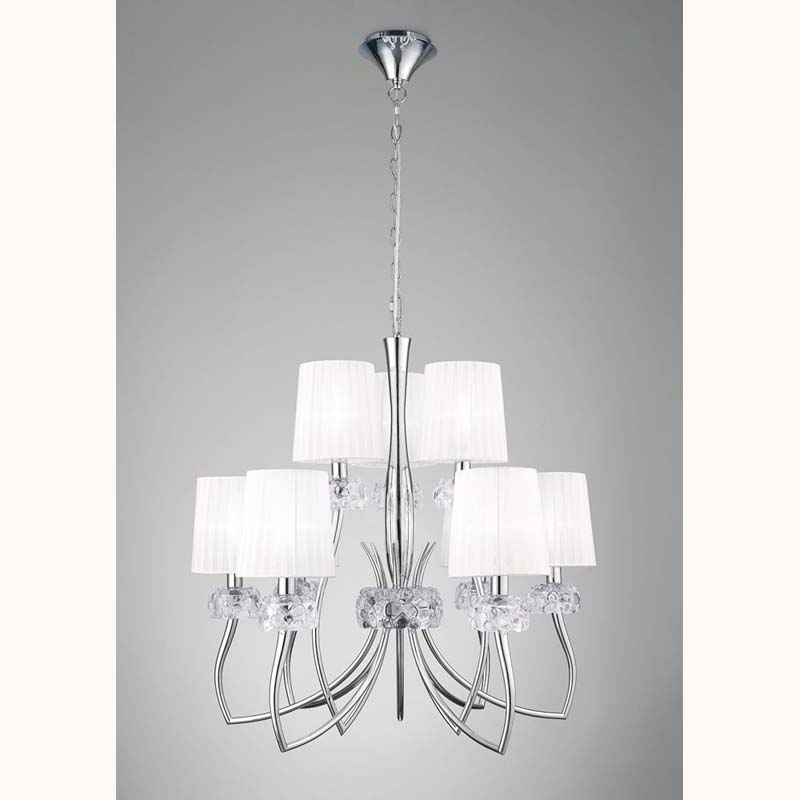 Loewe 2 Tier Pendant 6+3 Light E14, Polished Chrome With White Shades