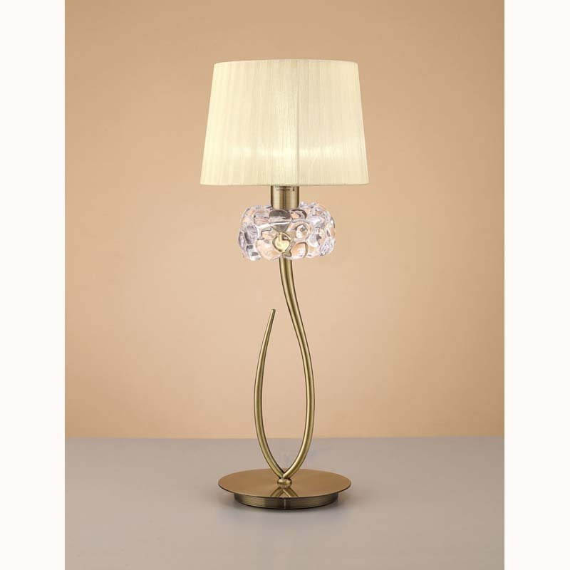 Loewe 1 Light Antique Brass Table Lamp With Cream Shade