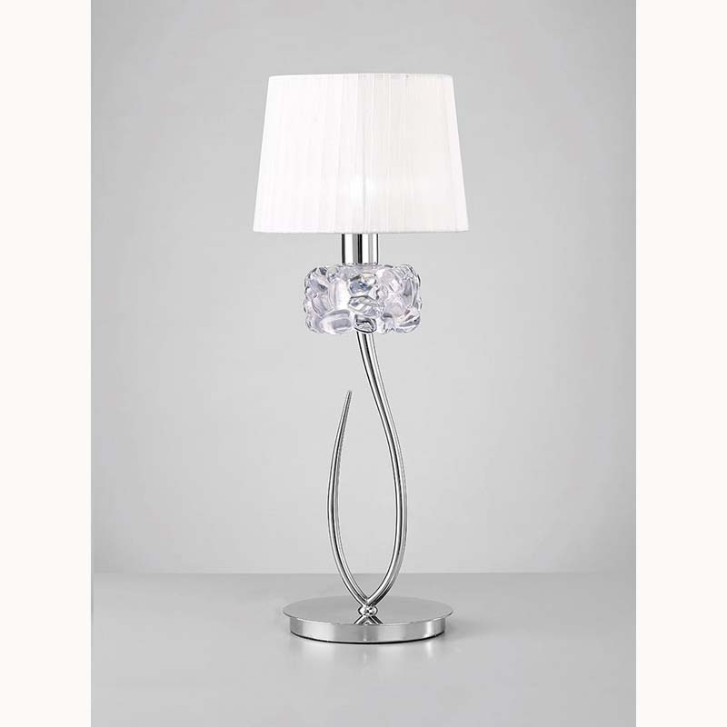 Loewe Polished Chrome 1 Light Table Lamp With White Shade