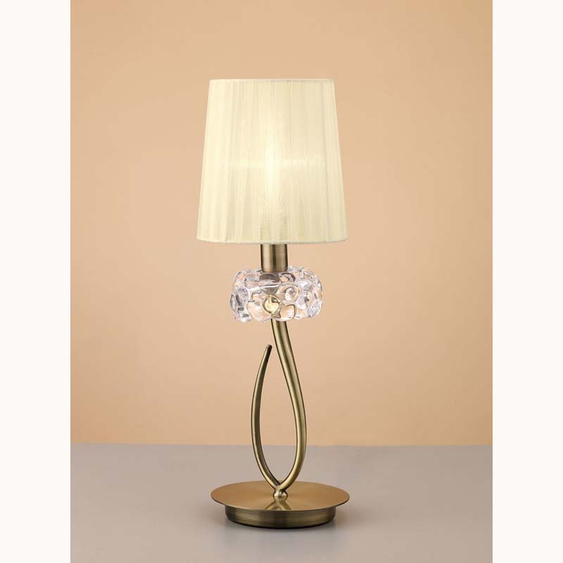 Loewe Antique Brass Table Lamp With Cream Shade