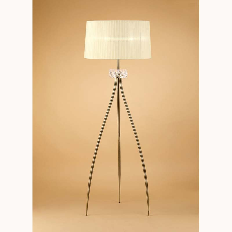 Mantra M4638AB Loewe Floor Lamp 3 Light E27, Antique Brass With Cream Shade