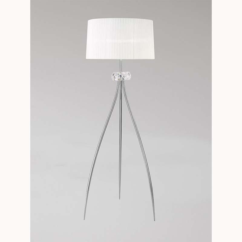 M4638 Loewe Floor Lamp 3 Light E27, Polished Chrome With White Shade - Mantra
