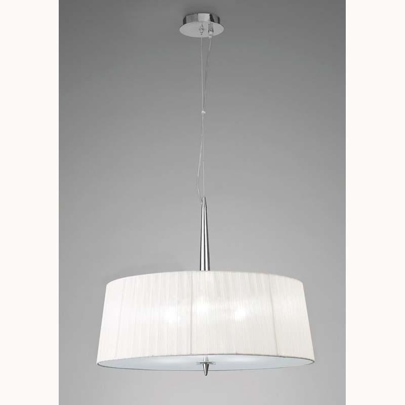 Mantra M4639 Loewe Single Pendant 3 Light E14, Polished Chrome With White Shade