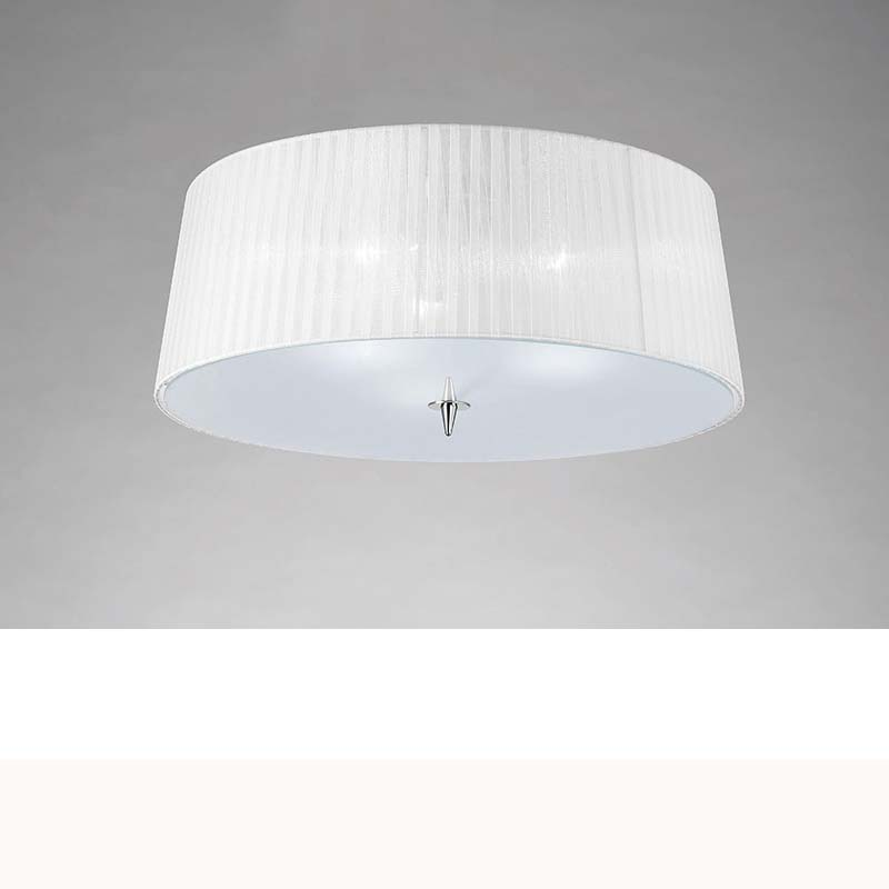 Mantra M4640 Loewe Ceiling 3 Light E27, Polished Chrome With White Shade