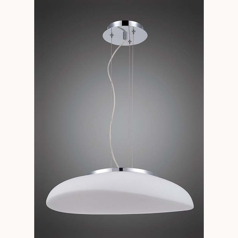 Mantra M4891 Opal Pendant 4 Light E27, Polished Chrome/Frosted White Glass