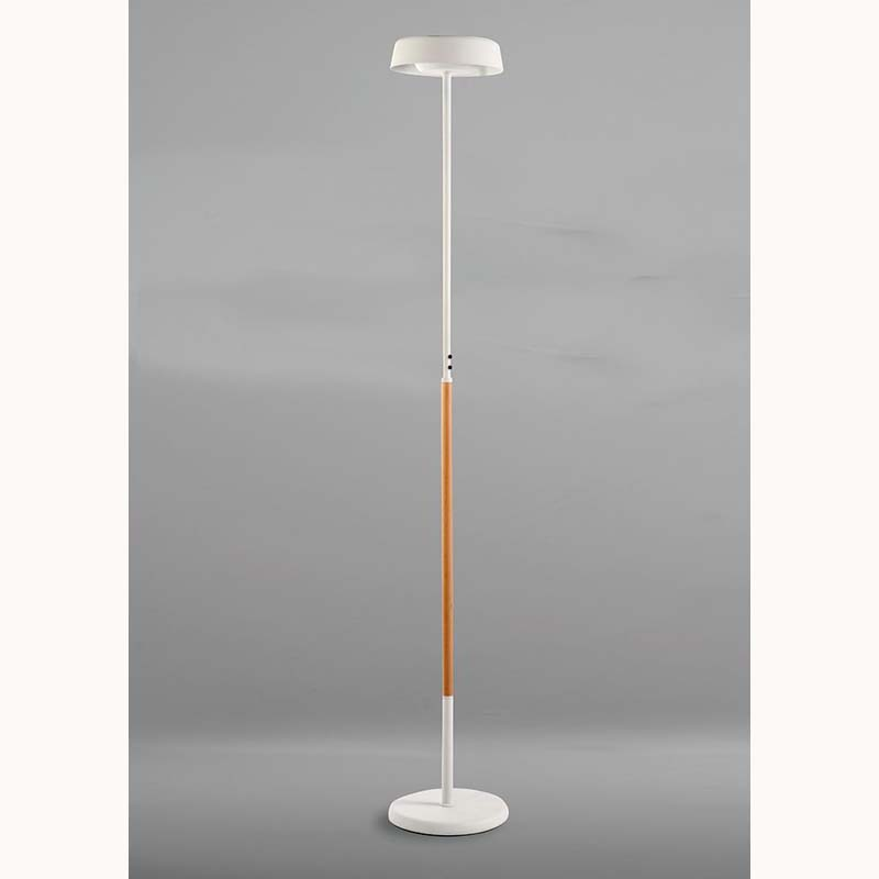 Noa Floor Lamp 2 Light 21W Down 9W Up LED 3000K, 3000lm, Matt White/Beech