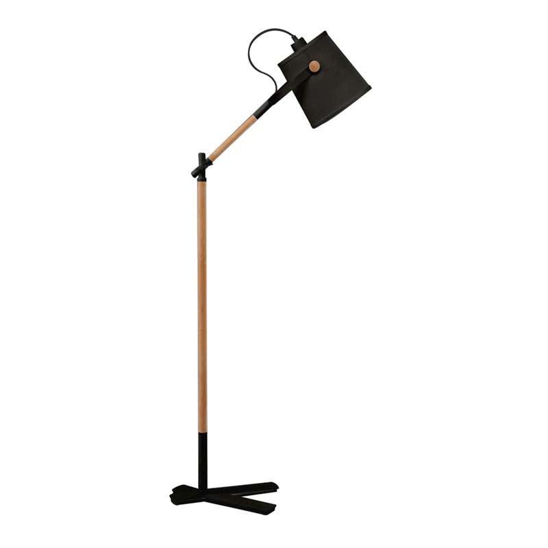 Nordica Floor Lamp With Black Shade 1 Light E27, Matt Black/Beech & Black Shade