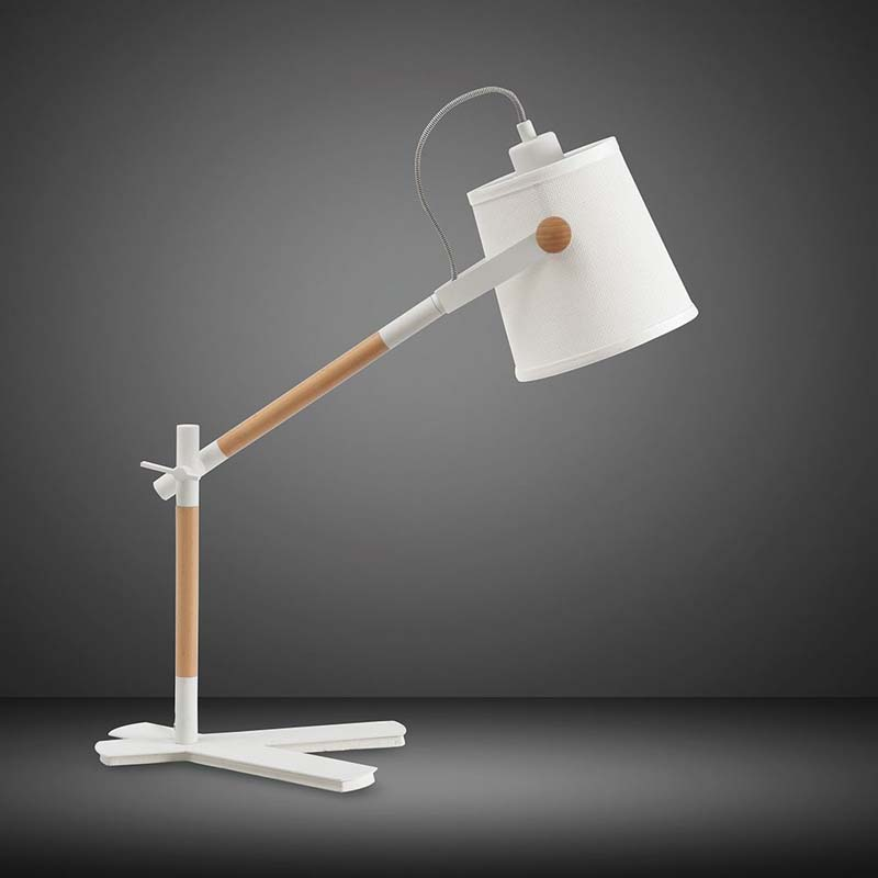 Nordica Matt White Table Lamp & Beech With White Shade