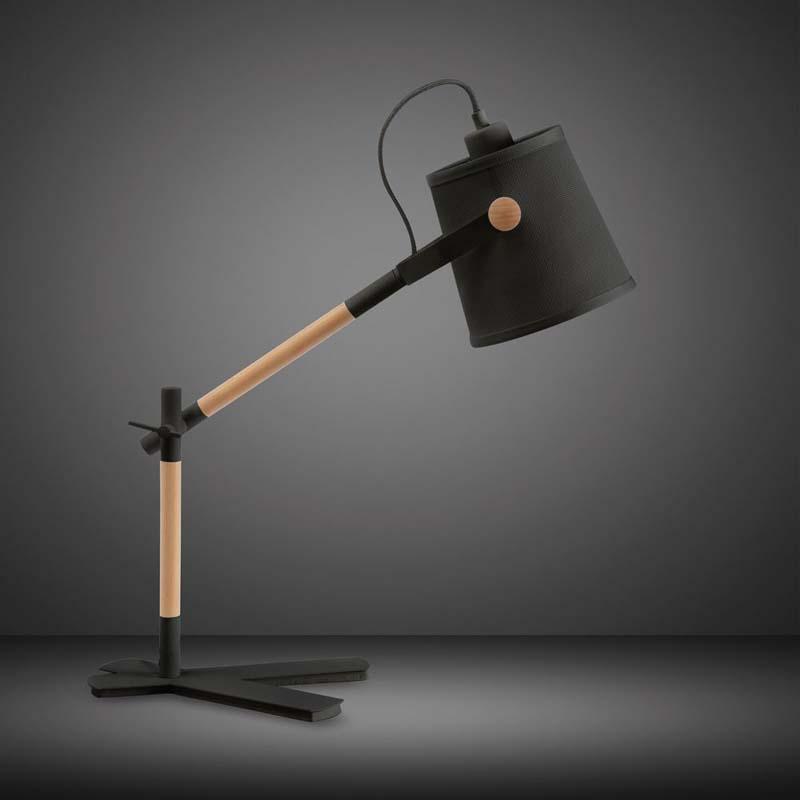 Nordica Matt Black 1 Light Table Lamp With Black Shade