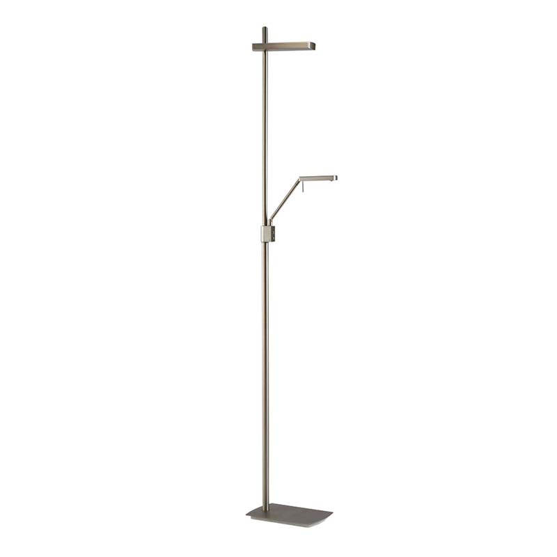 Phuket Floor Lamp 2 Light 21W Down 7W Up LED 3000K, 3000lm, Satin Nickel