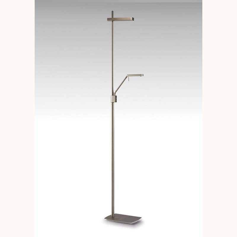 Phuket Floor Lamp 2 Light 21W Down 7W Up LED 3000K, 3000lm, Satin Nickel