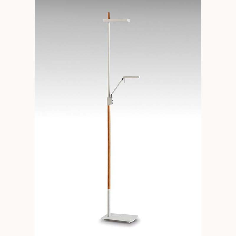 Phuket Floor Lamp 2 Light 21W Down 7W Up LED 3000K, 3000lm, Matt White/Beech