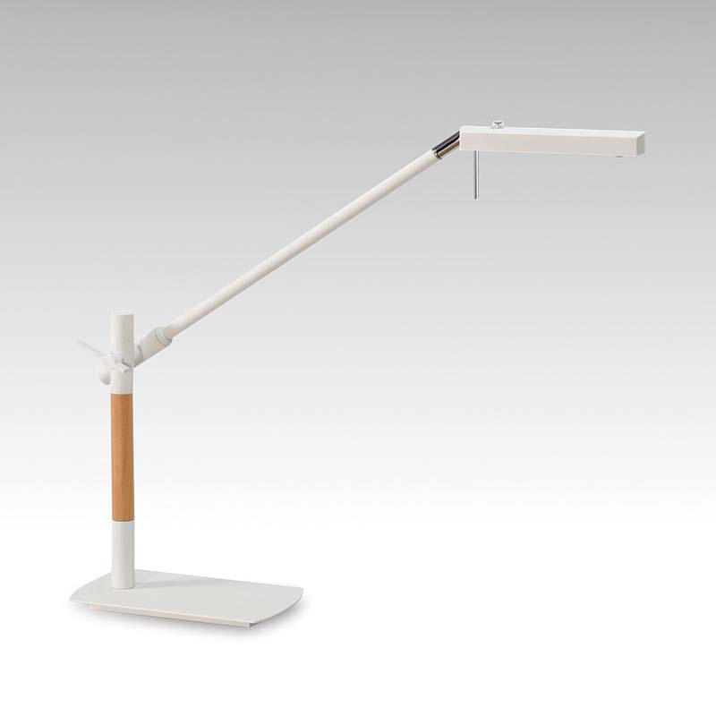 Phuket LED Matt White Table Lamp & Beech/Polished Chrome