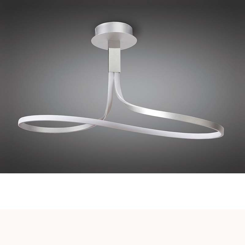 Nur Semi Ceiling Tall 40W LED 3000K, Silver/Frosted Acrylic/Polished Chrome