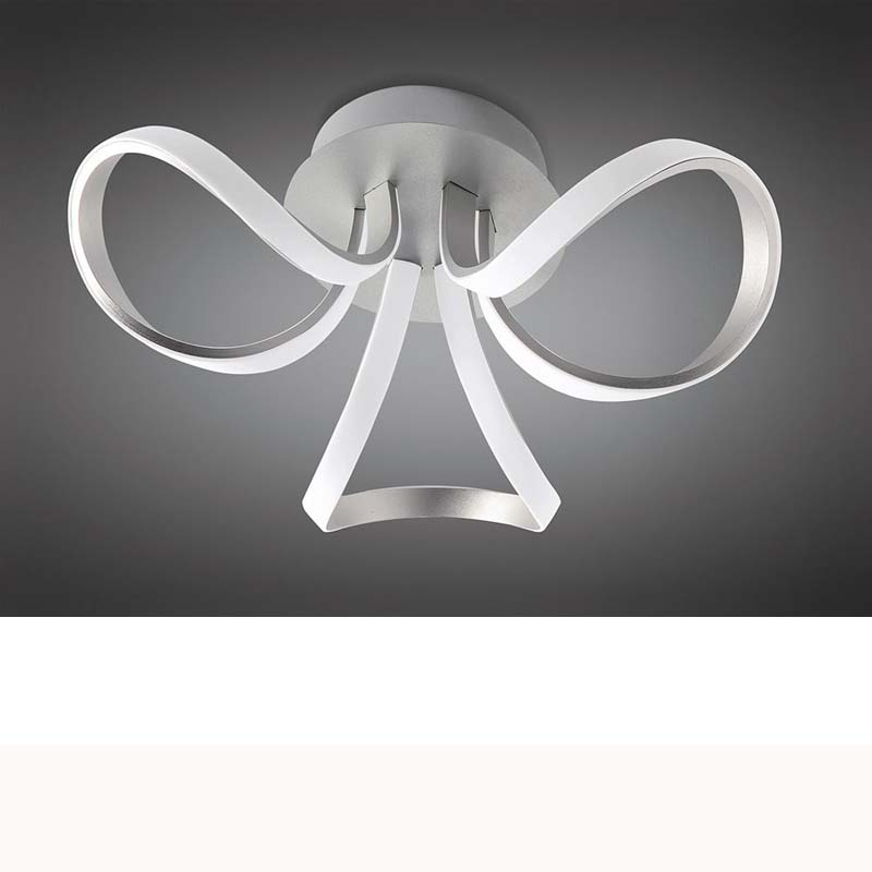Knot Ceiling 36W LED 2 Looped Arms 3000K, 2850lm, Silver/Frosted Acrylic