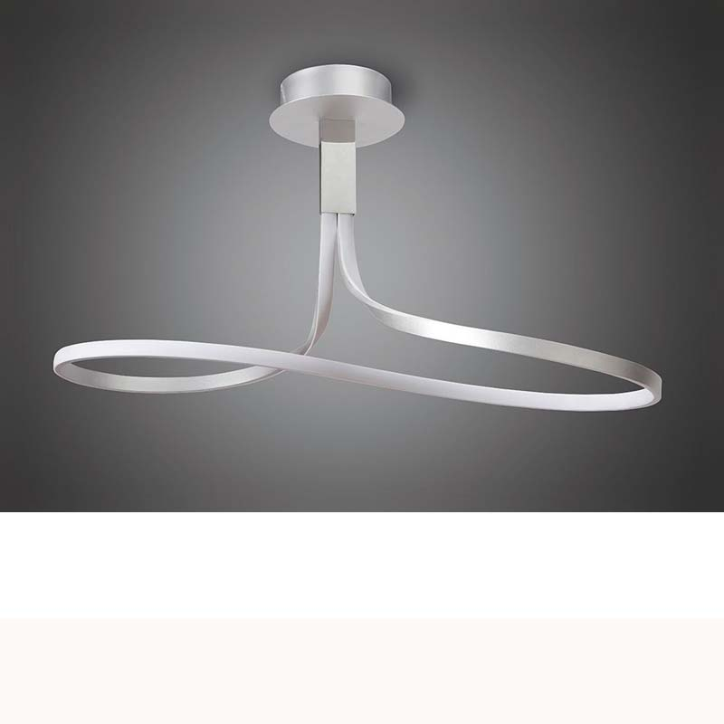 Nur Semi Ceiling Tall 40W LED, Dimmable Silver/Frosted Acrylic/Polished Chrome