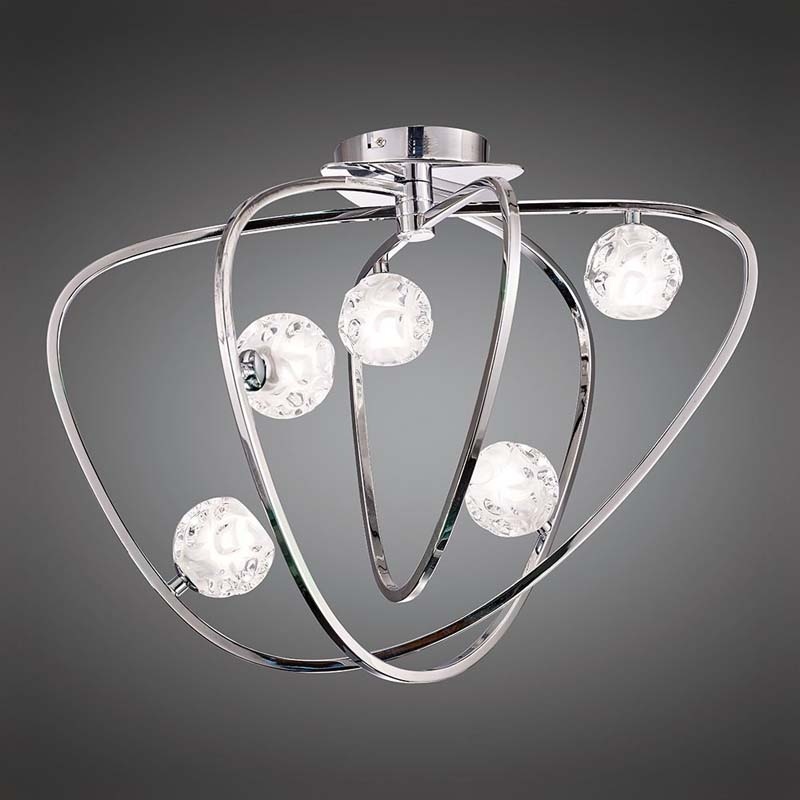 Lux Polished Chrome Ceiling Semi Flush 5 Light