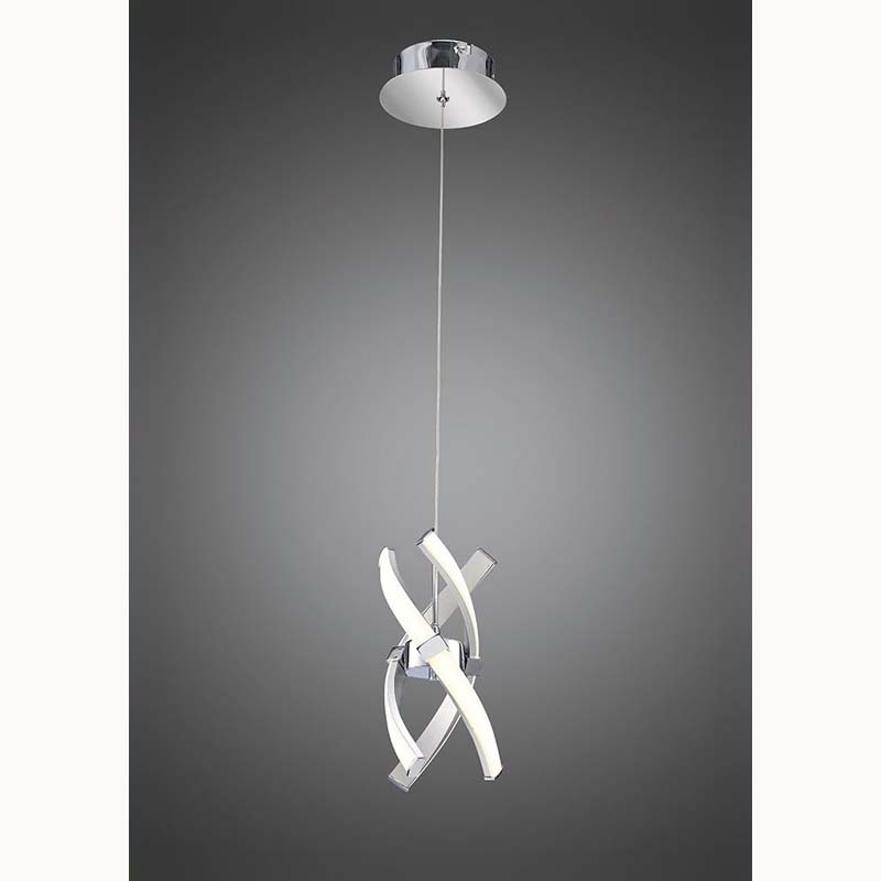 Espirales Pendant 1 Light 12W LED 3000K,Silver/Frosted Acrylic/Polished Chrome