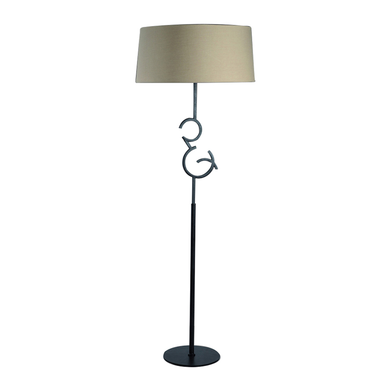 Mantra M5219 Argi Floor Lamp 4 Light E27 With Taupe Shade Black Oxide