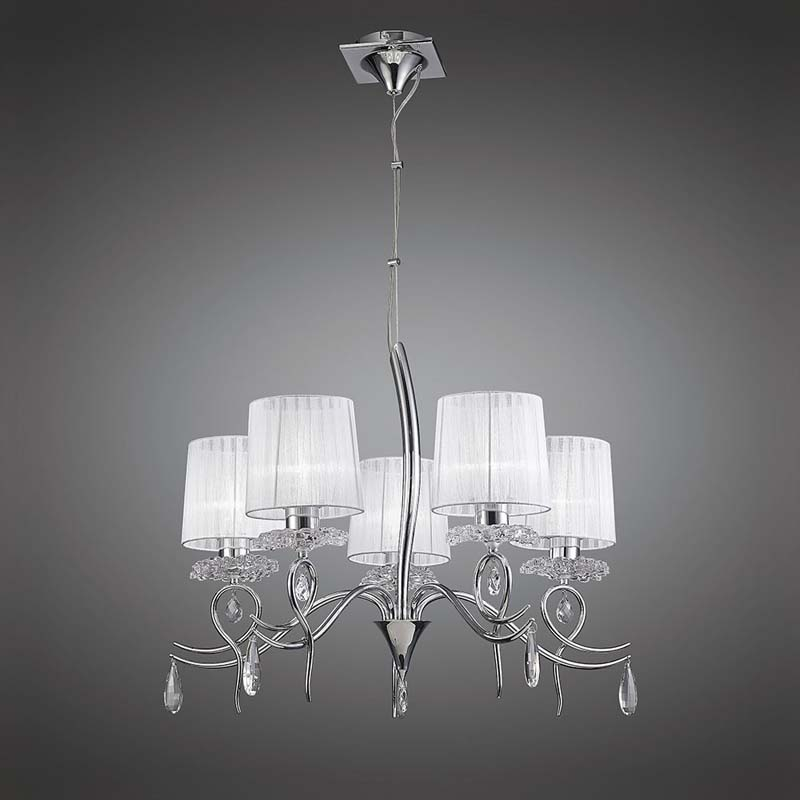 Louise Pendant 5 Light With White Shades Polished Chrome/Clear Crystal