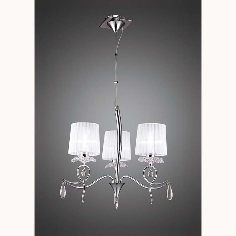 Louise Pendant 3 Light E27 With White Shades Polished Chrome/Clear Crystal