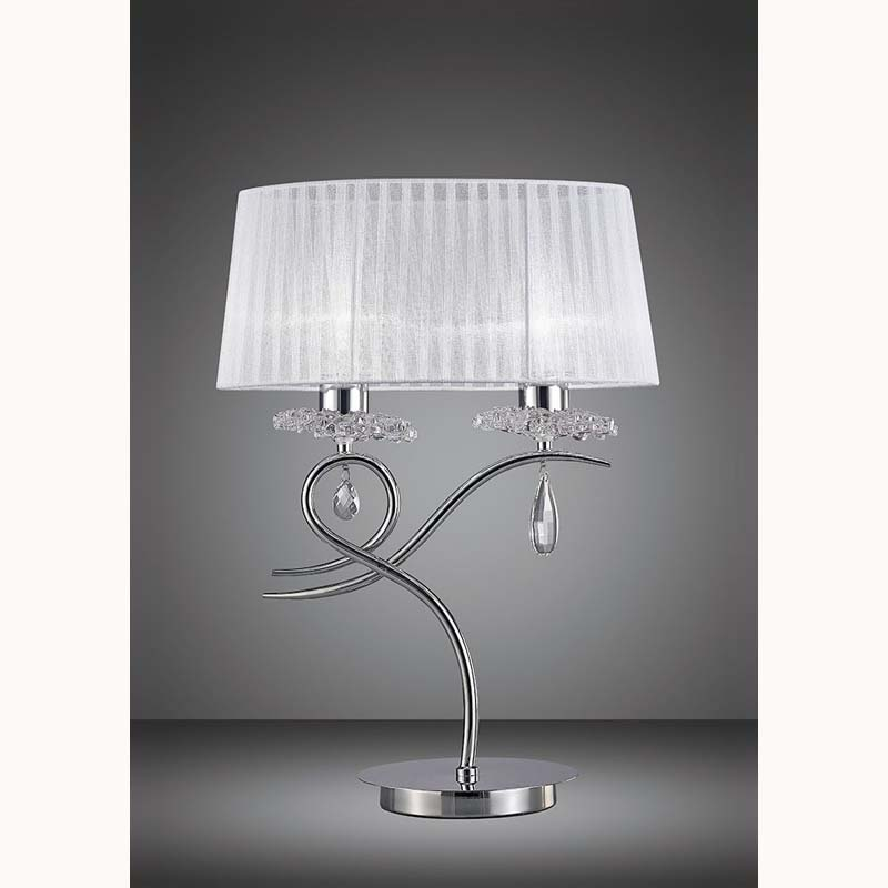 Louise Polished Chrome 2 Light Table Lamp And White Shade