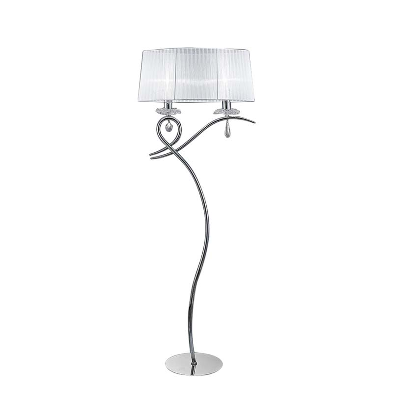 Louise Floor Lamp 2 Light E27 With White Shade Polished Chrome/Clear Crystal