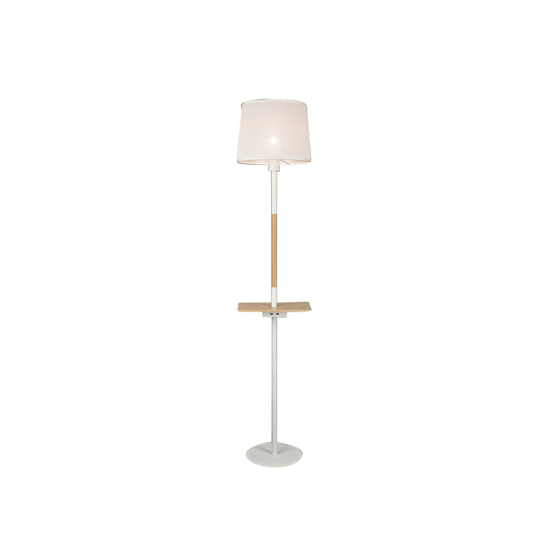 Nordica II Floor Lamp With USB Socket, 1x23W E27, White/Beech With White Shade