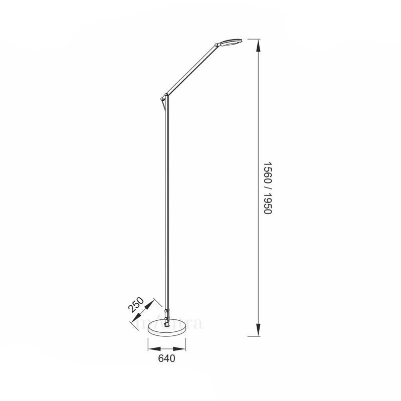 Classical Silver LED 6W Floor Lamp With Adjustable Neck, 5000K - Natalia Range
