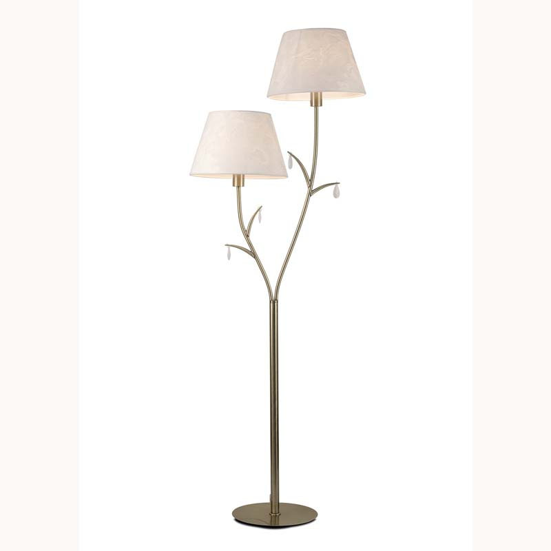 Classical 2 Light Antique Brass Floor Lamp, White Shades,White Crystal Droplets