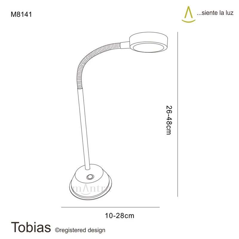 Tobias Black Chrome LED Table Lamp