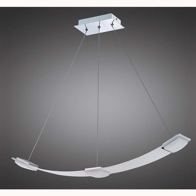Thea Pendant 3 Light 21W LED 3000K, 1890lm, Satin Aluminium/Frosted Acrylic