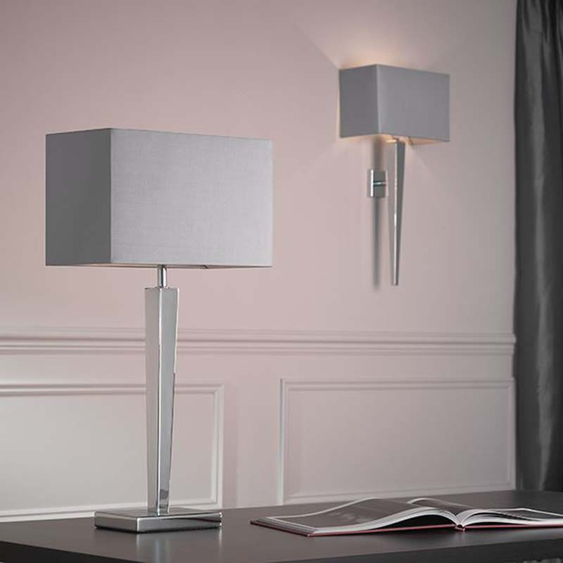 Moreto Chrome Plated Table Lamp With Grey Faux Rectangular Silk Shade
