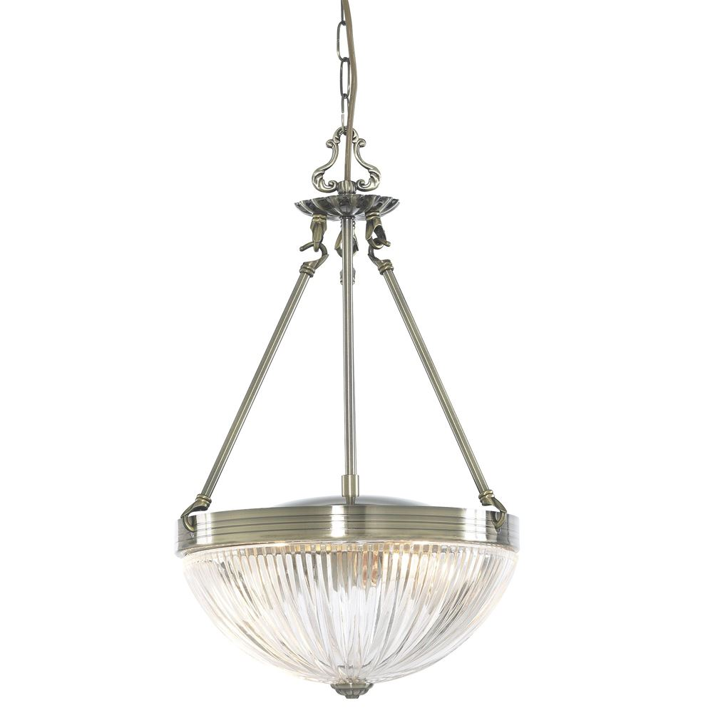 Windsor Ii 2 Light Antique Brass Pendant-Ribbed Glass